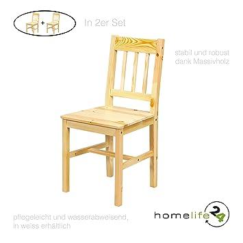 H24living 2er Set Esszimmer Stuhl Im Landhausstil Bauern Stil Funktionell  Und Robust Aus Echt Kiefer Natur