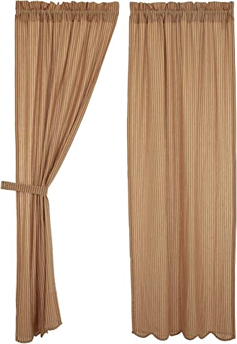 Cheston Stripe Scalloped Lined Panel Curtains 84″