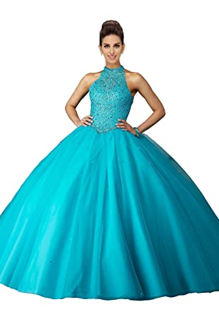 0daebbc243 Amazon.com  Halter Open Back Prom Quinceanera Dresses Diamond Beaded  Sequins Draped Tulle Party Dress for Sweet 16 Girls 2019  Clothing