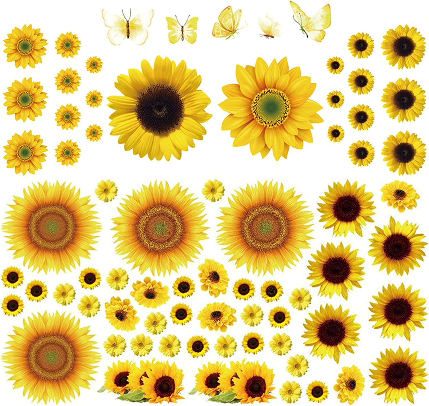 72pcs Sunflower Wall Decals with Butterfly Wall Stickers Decor Yellow Flowers Removable DIY PVC Butterflie Mural Sticker for Home Decoration Kids Room Bedroom Art Decor