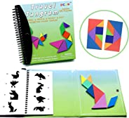 Tangram Game Travel Games 176 Magnetic Puzzle and Questions Build Animals People Objects with 7 Simple Magnetic Colorful Sha