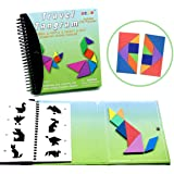 Wallxin Travel Tangram Puzzle - Magnetic Pattern Block Book Road Trip Game Jigsaw Shapes Dissection STEM Games with…