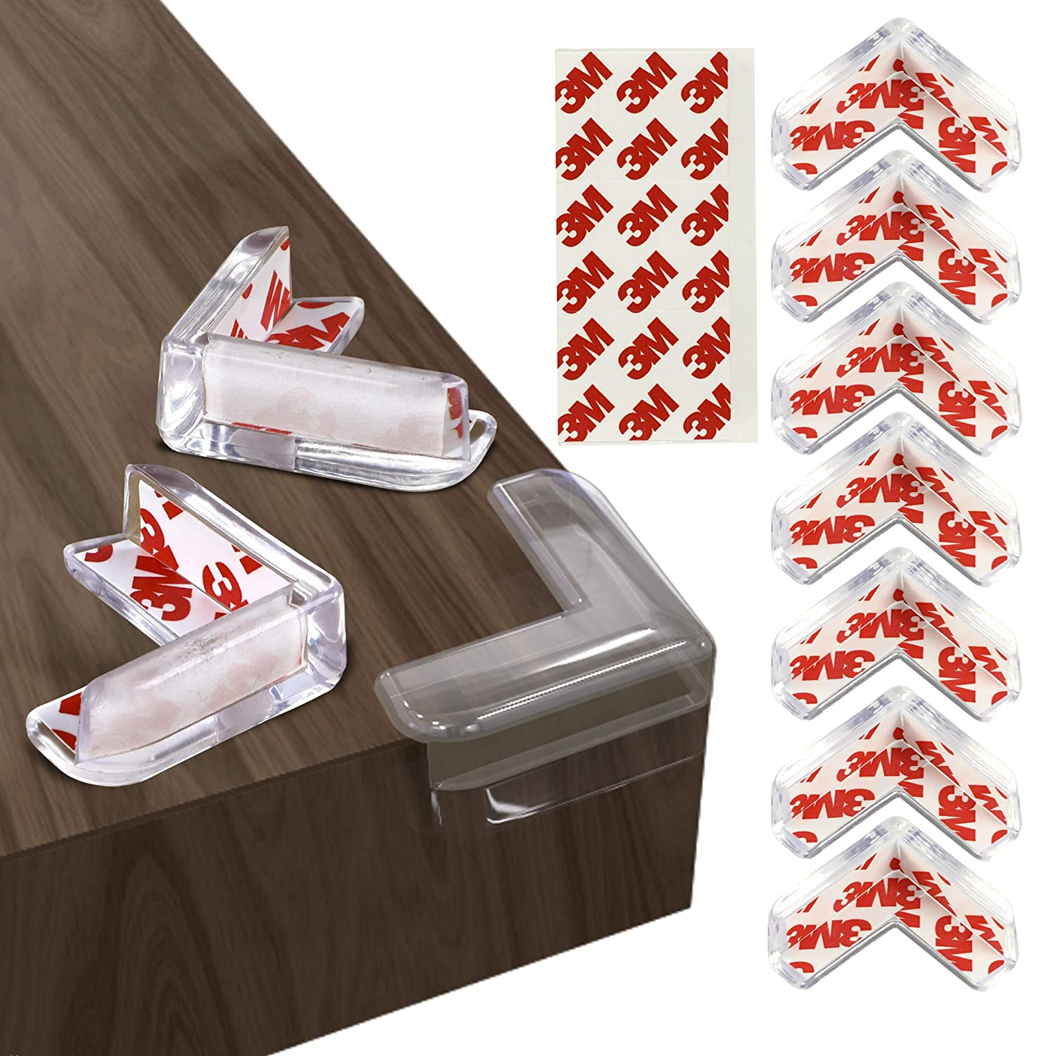 Barkah Corner Protector 12 Pcs Clear Baby Proofing Edge Guards with 3M Adhesive, L-Shaped Soft Cushion Corner Protectors for Furniture, Durable Adhesive for Child Proof Baby Safety