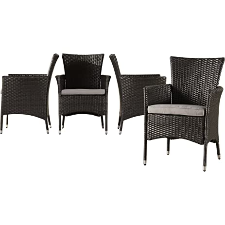 Amazon Com Contemporary Malibu Wicker Rattan Dining Arm Chair With