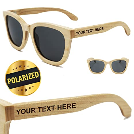 8b6988aea1 Amazon.com  Custom Engraved Wood Polarized Sunglasses - Premium Personalized  Wooden Sun Glasses Gifts for Wedding Party