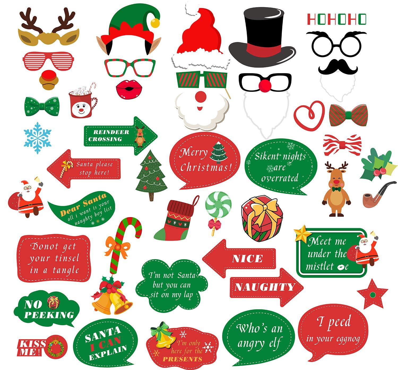 Sayala Navidad Photo Booth Props Kit Feliz Navidad Fuentes de ...