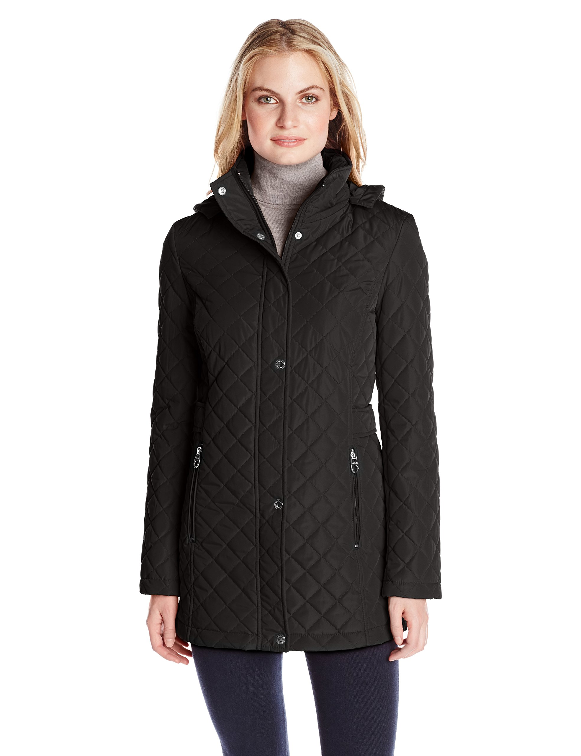 Calvin Klein Women's Classic Quilted Jacket with Side Tabs, Black, X-Large