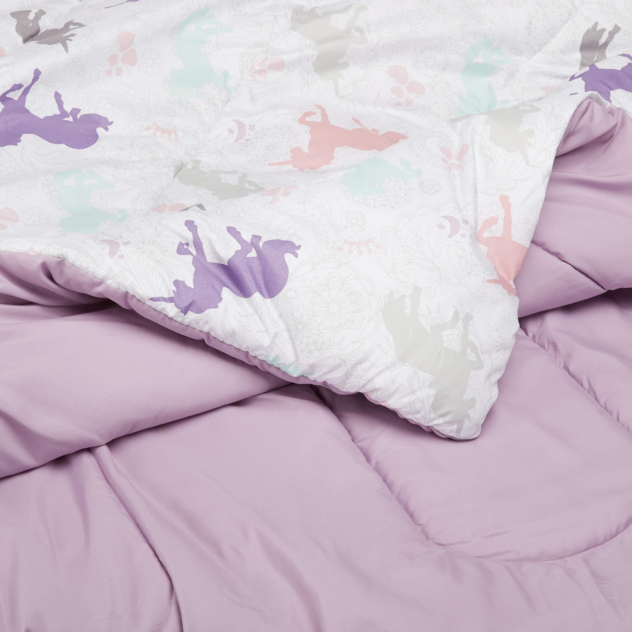 AmazonBasics Kid's Comforter Set - Soft, Easy-Wash Microfiber - Twin, Purple Unicorns by AmazonBasics (Image #5)