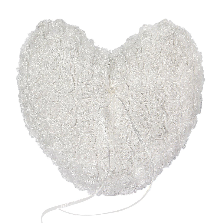 Somnr® Elegant Lace Heart Ring Bearer Pillow for Wedding Party Prom (White)