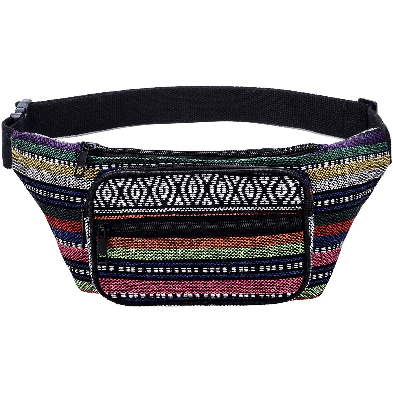 Kayhoma Boho Fanny Pack Stripe Festival Retro Vintage Flat Bum Bags Travel Hiking Hip Waist Bag by Kayhoma