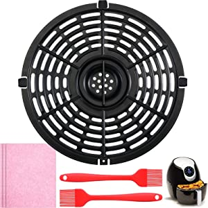 Air Fryer Replacement Grill Pan Kit Include Non-Stick Fry Pan Crisper Plate Suit for Air Fryers, Cleaning Cloth and Oil Brush for Making Fried Kitchen Foods (3.7 QT)