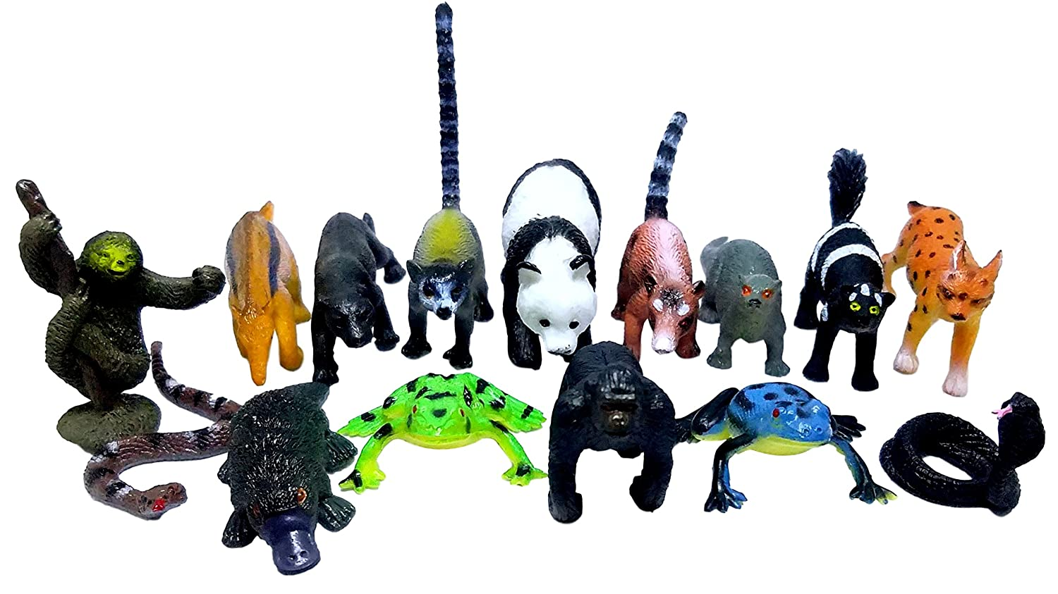 Mini Safari Jungle Rain Forest Animals Play Set Bag Stuffer Gift 30 ct Prize Pinata Filler Educational Counting /& Sensory Toys Assorted Creatures - Kids Miniature Party Favors 2 Sets of 15