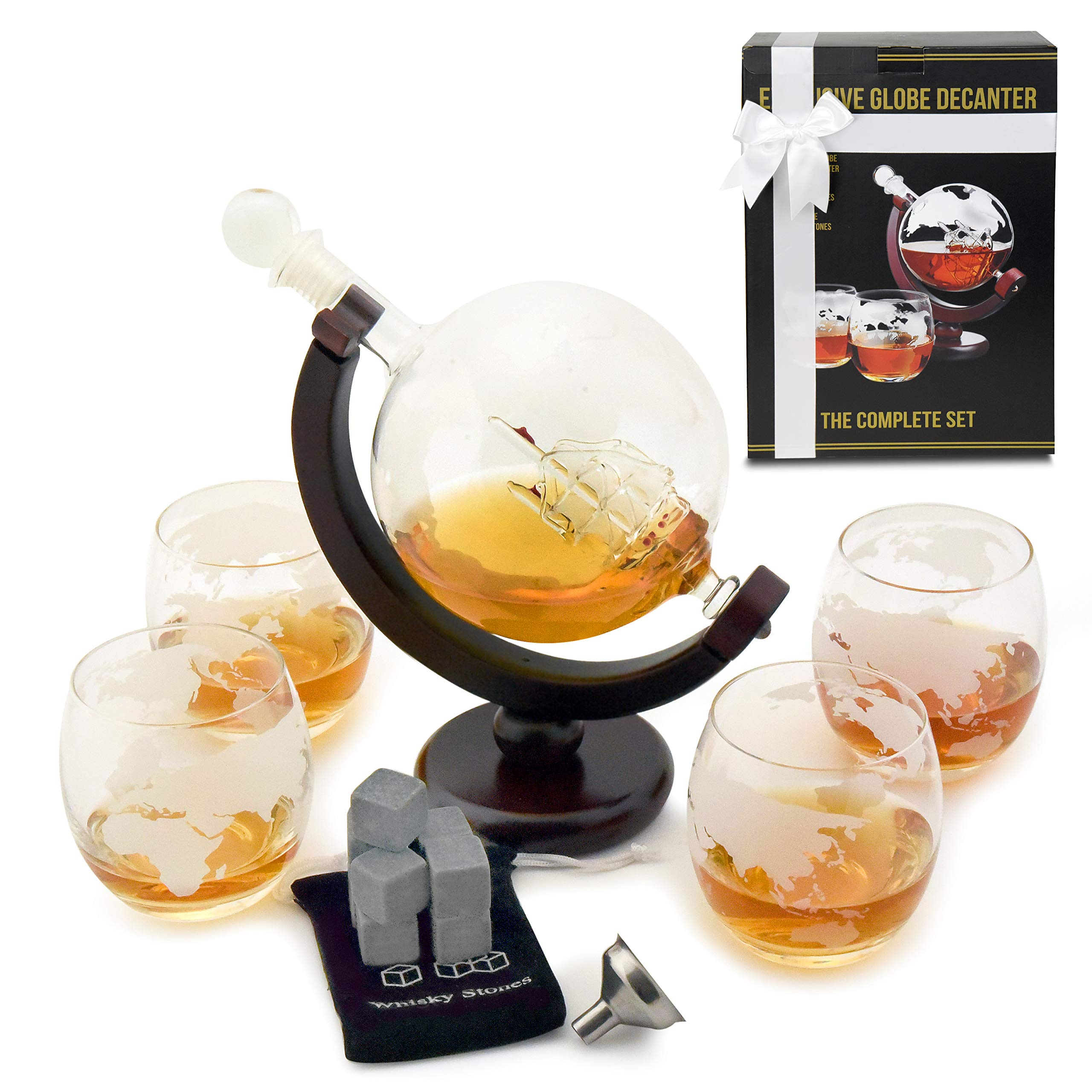 Whiskey Decanter Set with Globe Glasses - Premium Whiskey Gift Set - Etched Globe Decanter for Scotch, Bourbon or Liquor - 850ml Wine Decanter Set + 9 Bonus Ice Stones - Glass Decanter with Gift Box