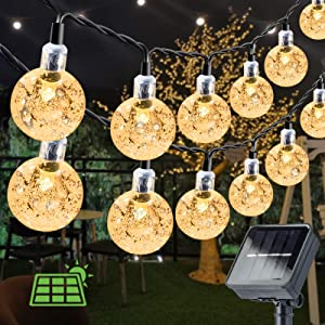 Solar String Lights 60 LED 36ft Solar Patio Lights with 8 Modes, Waterproof Crystal Ball String Lights for Patio, Lawn, Garden, Wedding, Party, Christmas Decor(Warm White)
