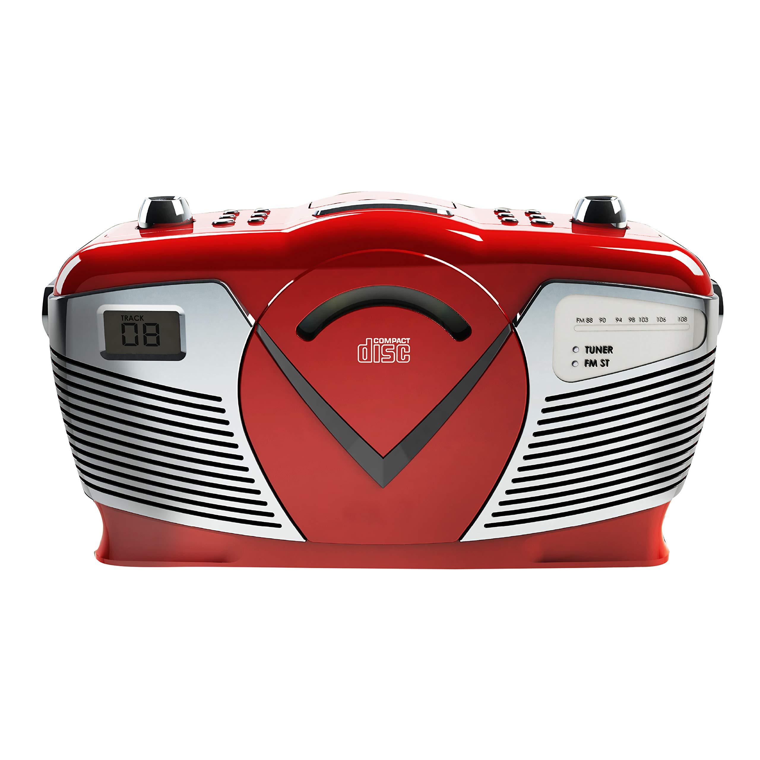 Sylvania Portable CD Boombox with AM/FM Radio, Retro Style, Red