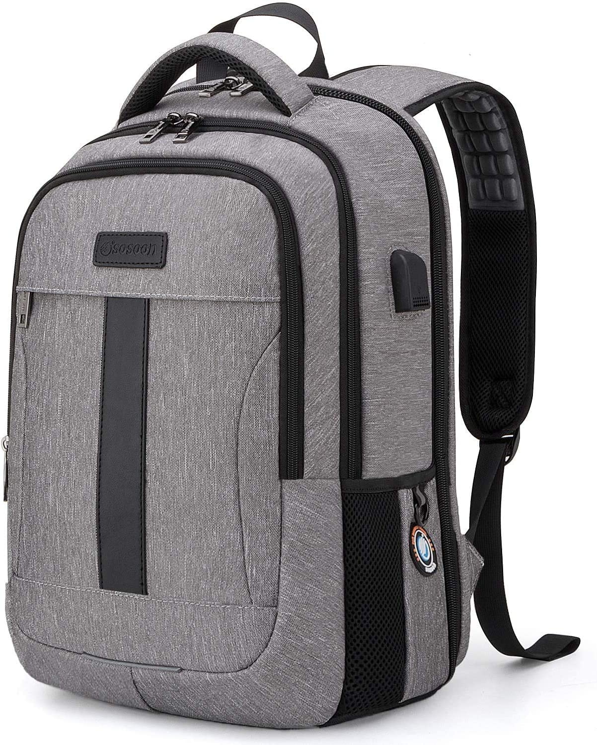 Business 15.6Inch Laptop Backpack, Anti theft School Bookbag for Girls/Boys Grey