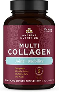 Multi Collagen Capsules, Joint + Mobility, Collagen Pills Formulated by Dr. Josh Axe, 5 Types of Food Sourced Collagen, Supplement Supports Joints, Hair & Nails, Gluten Free, 90 Count - 30 Servings