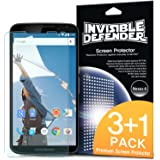 Nexus 6 Screen Protector - Invisible Defender Nexus 6 [3+1 Free/MAX HD CLARITY] Lifetime Warranty Perfect Touch Precision High Definition (HD) Clarity Film (4-Pack) for Google Motorola Nexus 6 (NOT for Huawei Nexus 6P 2015)