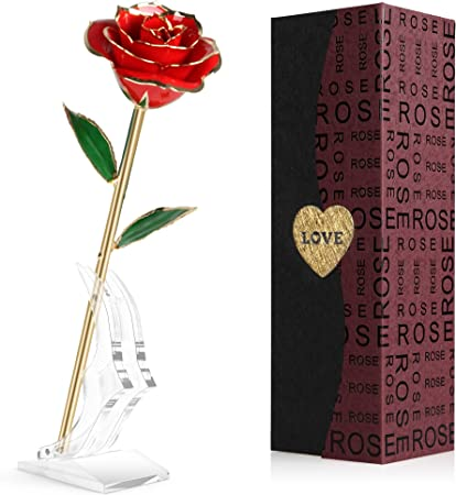 Gold Foil Plated Rose Flower 24K Dipped Decor With Stand Mothers Day Gift Red DI