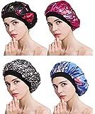 FIBO STEEL 1-4 Pcs Soft Satin Hair Bonnet for Women Girls Silk Sleeping Salon Cap Bonnet Set