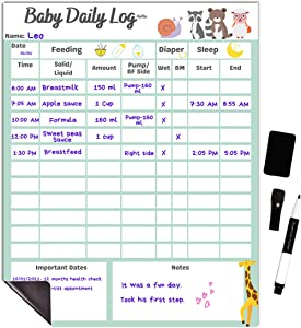 Baby Daily Log Chart Dry Erase Whiteboard for Logging Daily Schedule for Newborns and Toddlers, Log Feeding, Diaper Change, Naps and Daily Activities, Board for Refrigerator, with Pen and Eraser