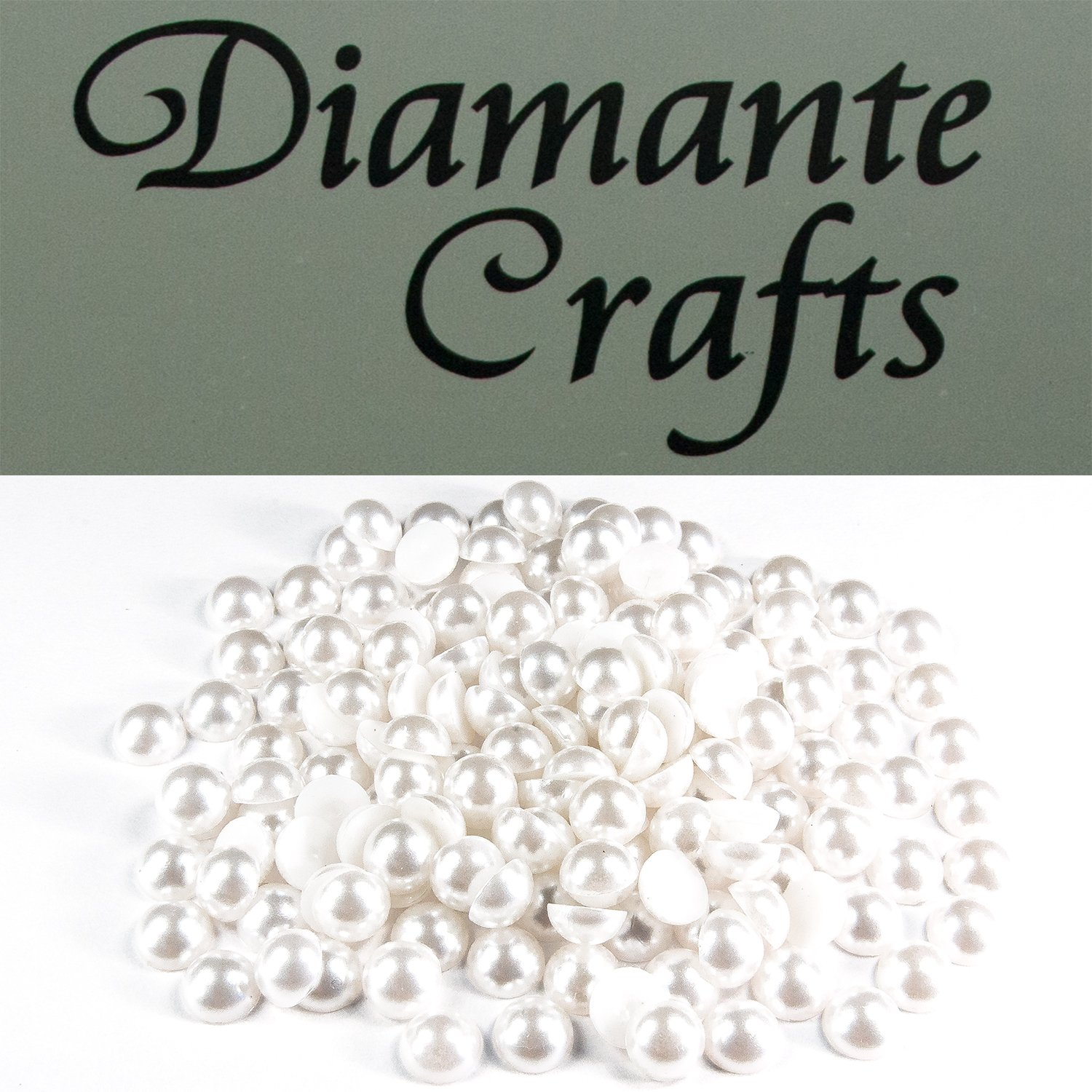 200 x 7mm White Round Pearls Loose Flat Back Rhinestone Gems created exclusively for Diamante Crafts
