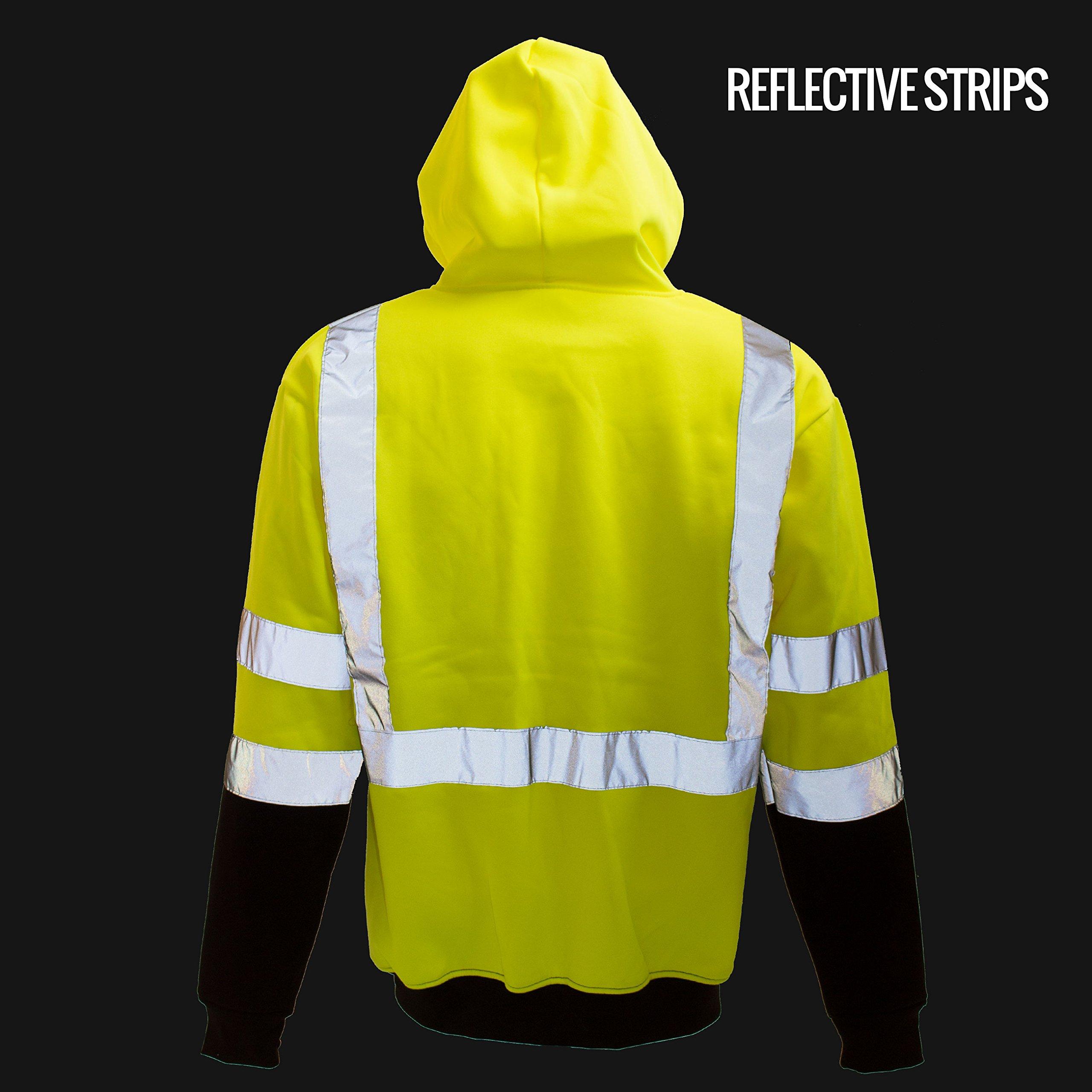 New York Hi-Viz Workwear H8312 Men's ANSI Class 3 High Visibility Class 3 Sweatshirt, Hooded Pullover, Knit Lining, Black Bottom (Lime, Large) by New York Hi-Viz Workwear (Image #5)