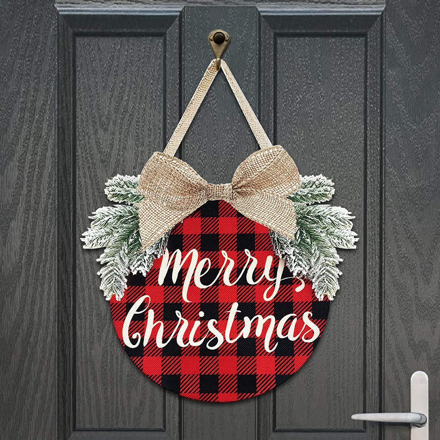 Christmas Wreath - Buffalo Plaid Xmas Decorations - Winter Wreaths Merry Christmas Sign for Holiday Rustic Farmhouse Front Door Porch Wall Window Outside Decorations