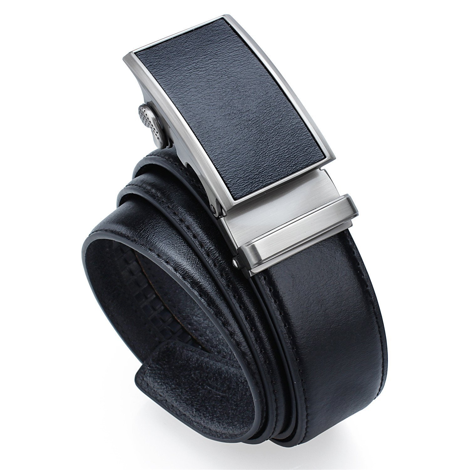 Ratchet Genuine Leather Belt with Automatic Buckle - 1.4'' Wide Belt in 3 Colors for Men Big and Tall