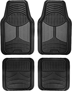 FH Group F11313 Monster Eye Full Set Rubber Floor Mats, Gray/Black Color- Fit Most Car, Truck, SUV, or Van
