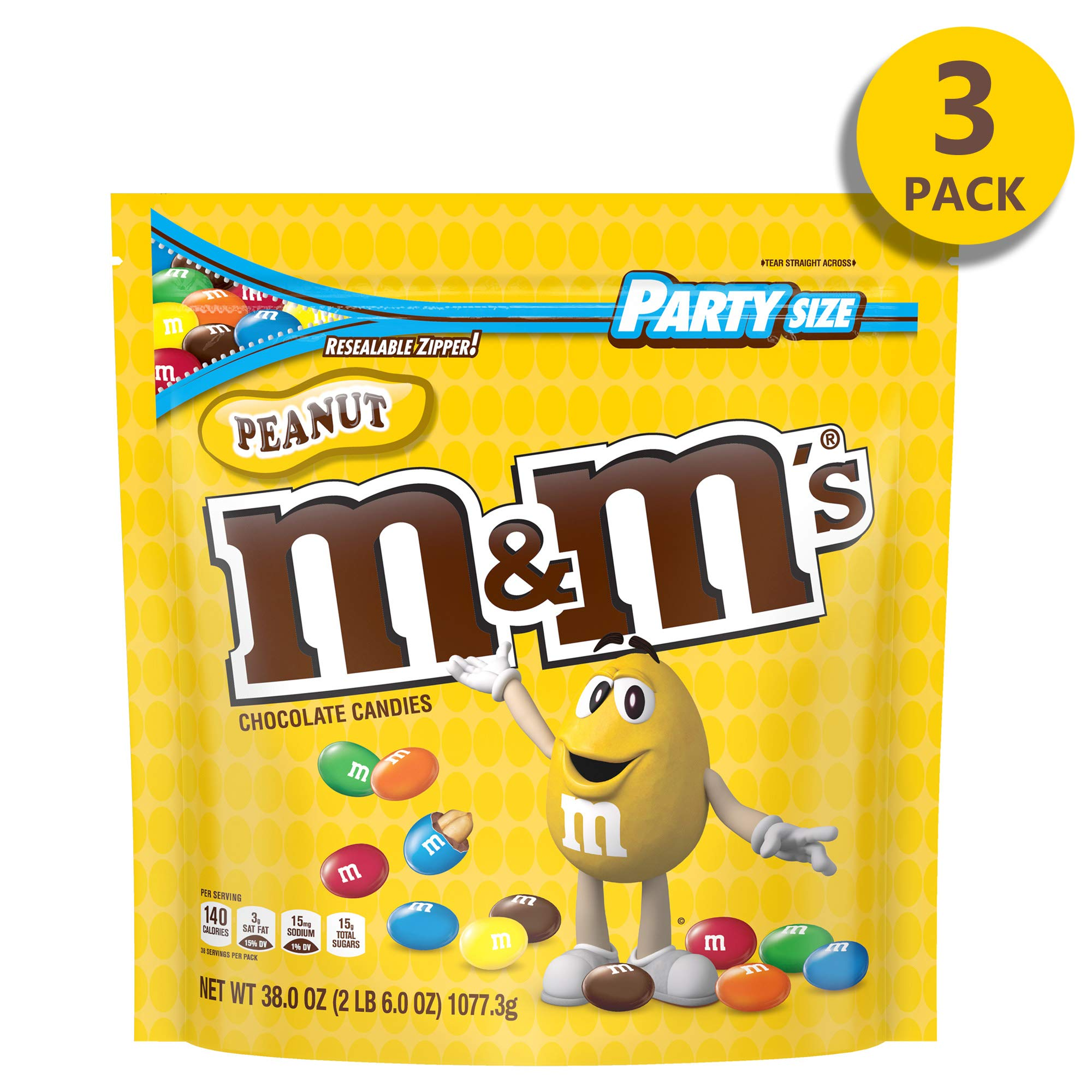 M&M's Peanut Chocolate Candy, 38 Oz Party Size Bag - Pack of 3 by M&M'S