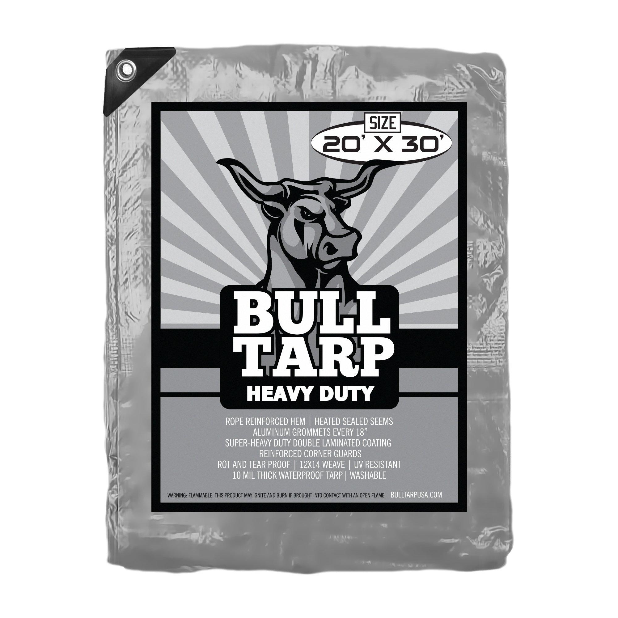 Bull-Tarp Super Heavy Duty, Silver/Black, Waterproof, Tent Shelter, Tarpaulin, Fire Wood Cover, Multi-Purpose Heavy Duty Poly Tarp, Reinforced Grommets Every 18'' (20X30)