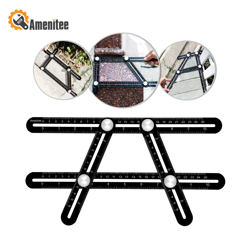 Amenitee Angle Layout Measuring Ruler|Universal Angularizer Ruler - Full Metal Multi Angle Measuring Tool-Upgraded Aluminum Alloy Ruler (Black) by Amenitee
