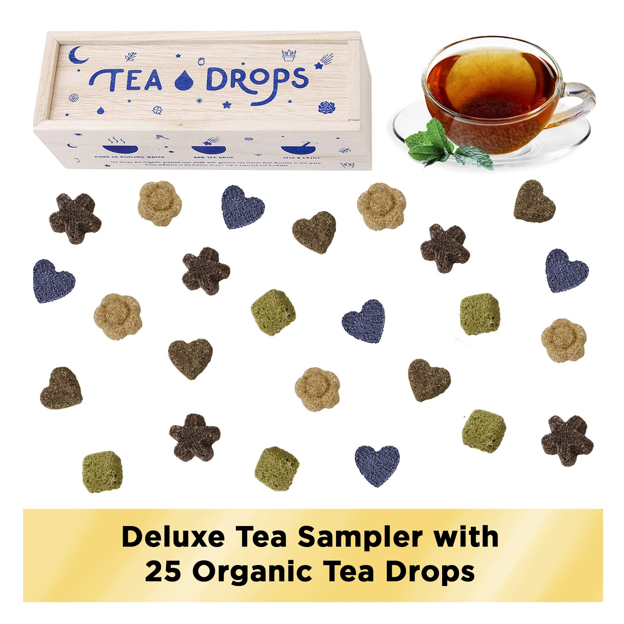 Sweetened Organic Loose Leaf Tea   Deluxe Herbal Sampler Assortment Box   Instant Pressed Teas Eliminate the Need for Teabags and Sweetener   Tea Lovers Gift   Delicious Hot or Iced   By Tea Drops by Tea Drops