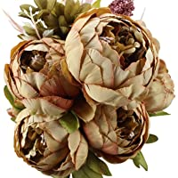 Duovlo Fake Flowers Vintage Artificial Peony Silk Flowers Wedding Home Decoration,Pack of 1 (Coffee)