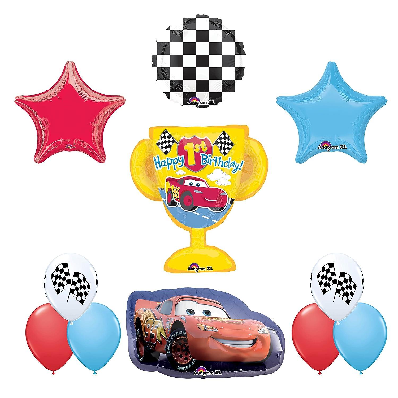 Amazon Disney Cars Lightning McQueen Happy 1st Birthday Balloon Bouquet Toys Games