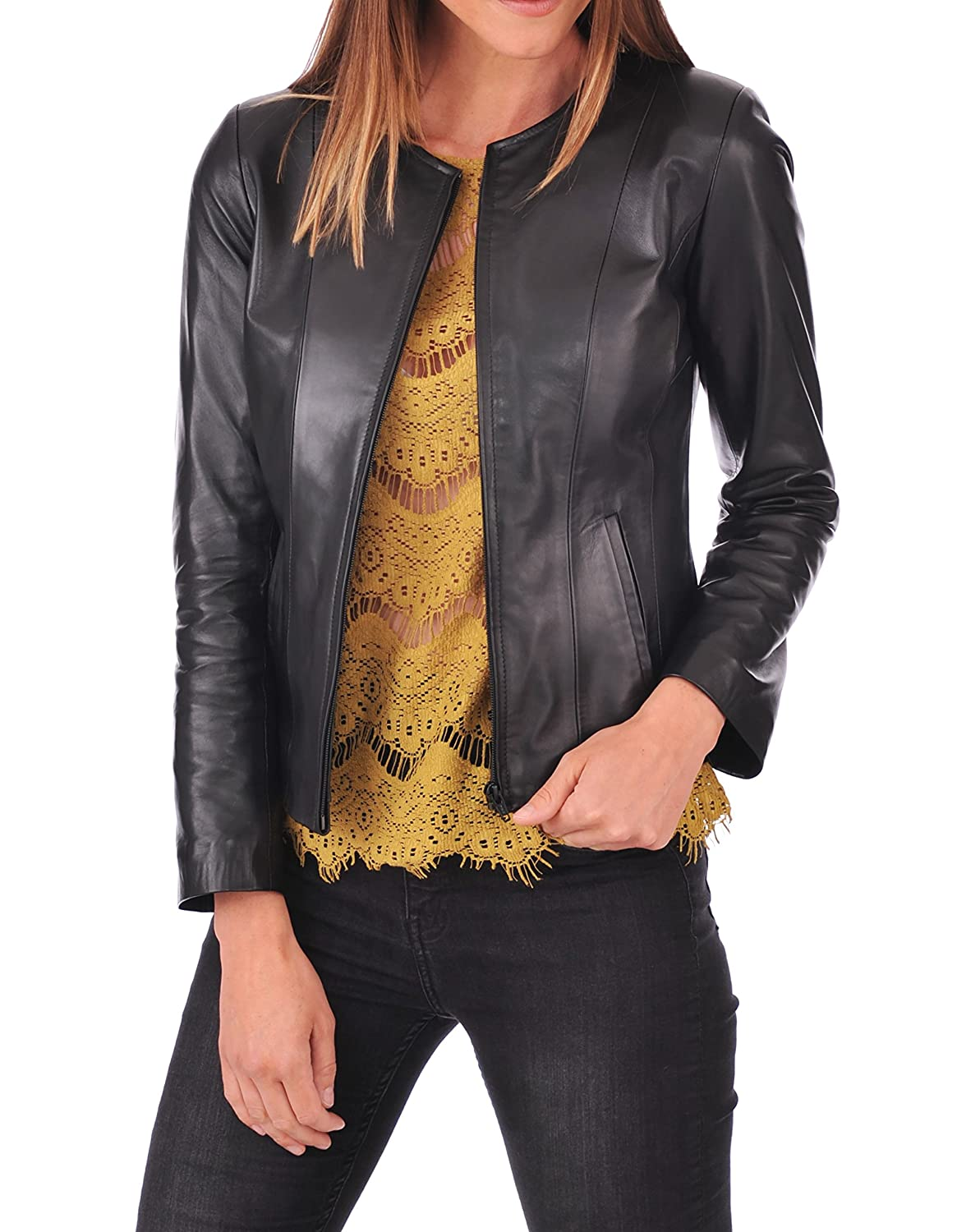 Black43 DOLLY LAMB 100% Leather Jacket for Women  Collarless Deep Neck & Slim Fit  Moto, Bomber, Biker Winter Casual Wear