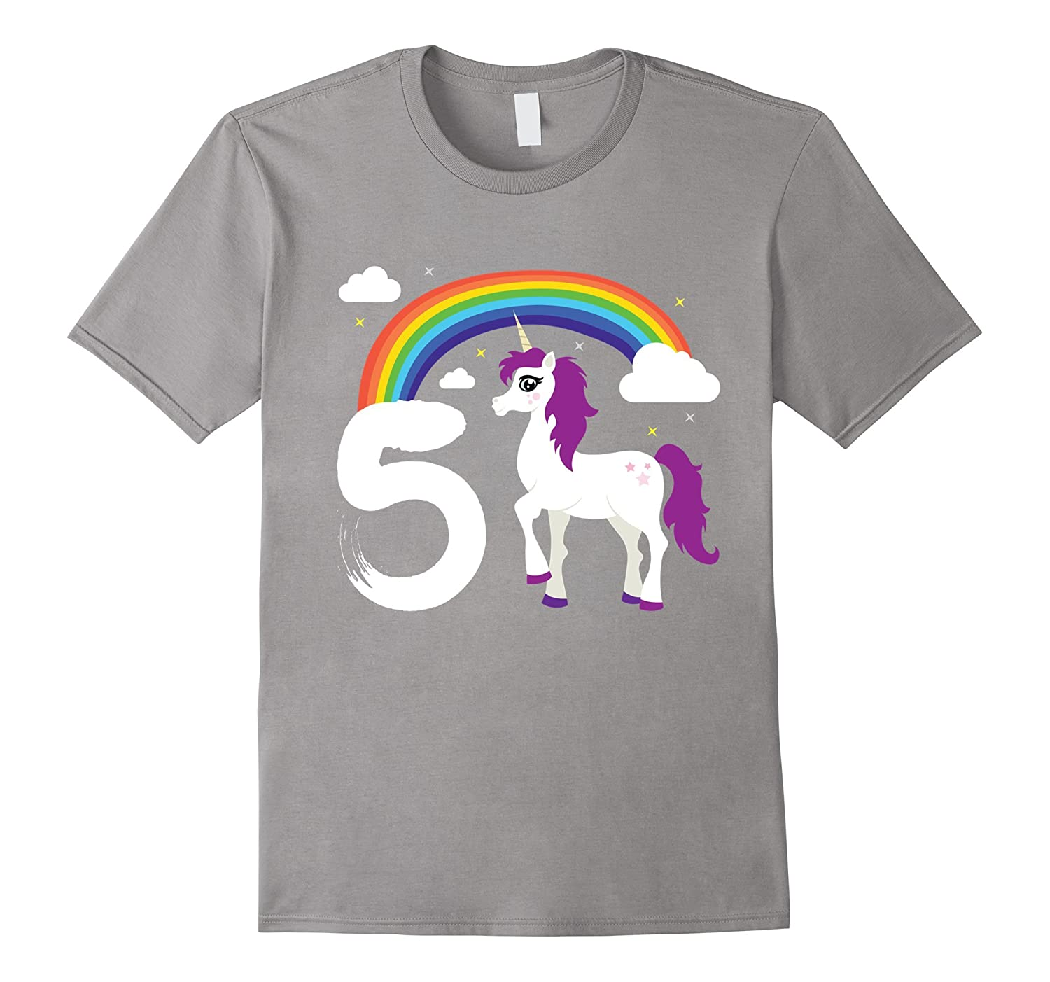 5th Birthday Girl Unicorn Rainbow Cloud Party T-Shirt Gift-CL