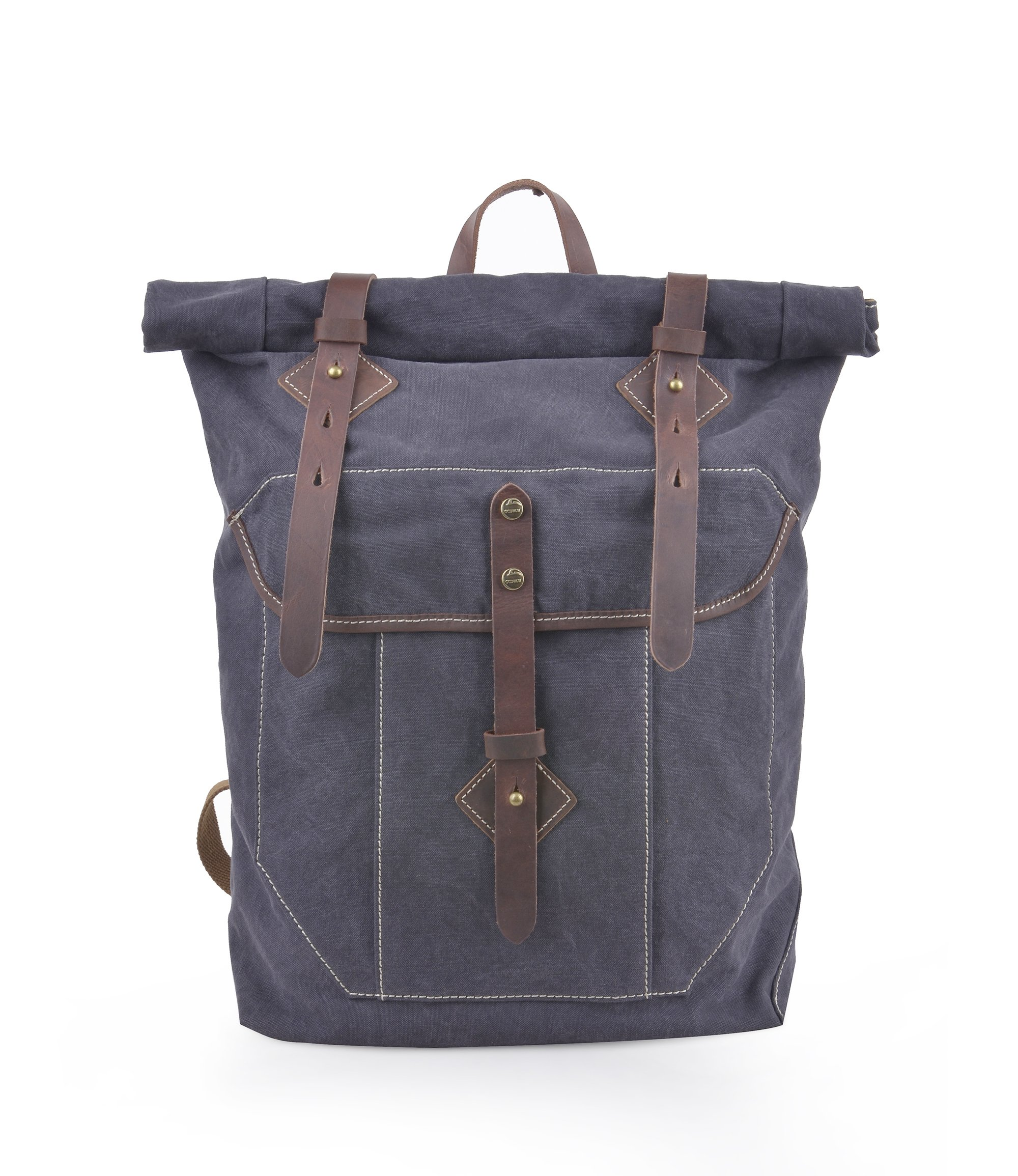 Gootium Vintage Canvas Backpack - Unisex Roll-top Rucksack, Darkish Blue