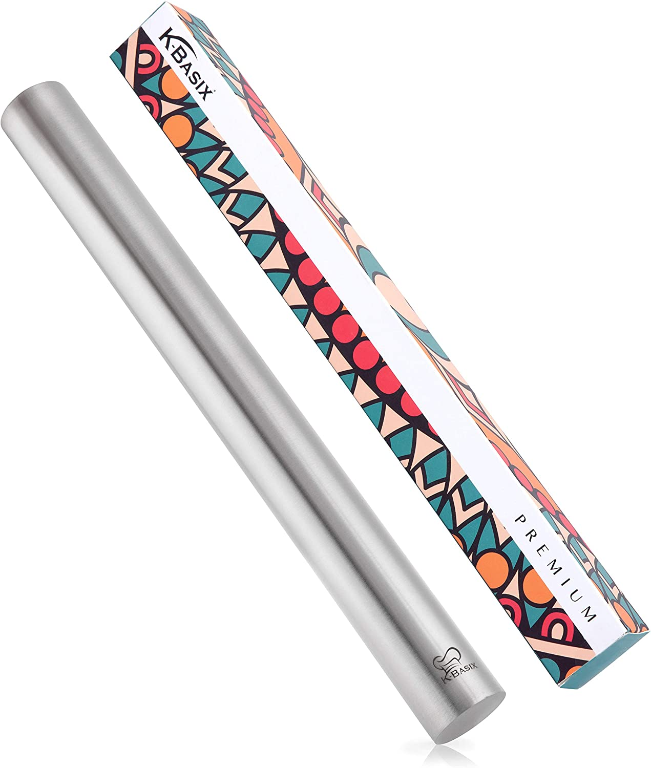 K BASIX Rolling Pin - Professional Stainless Steel Rolling Pin for Baking - Non-Stick Metal Design Best for Pizza Dough, Pie Crust, Fondant, Pastry & Pasta!!