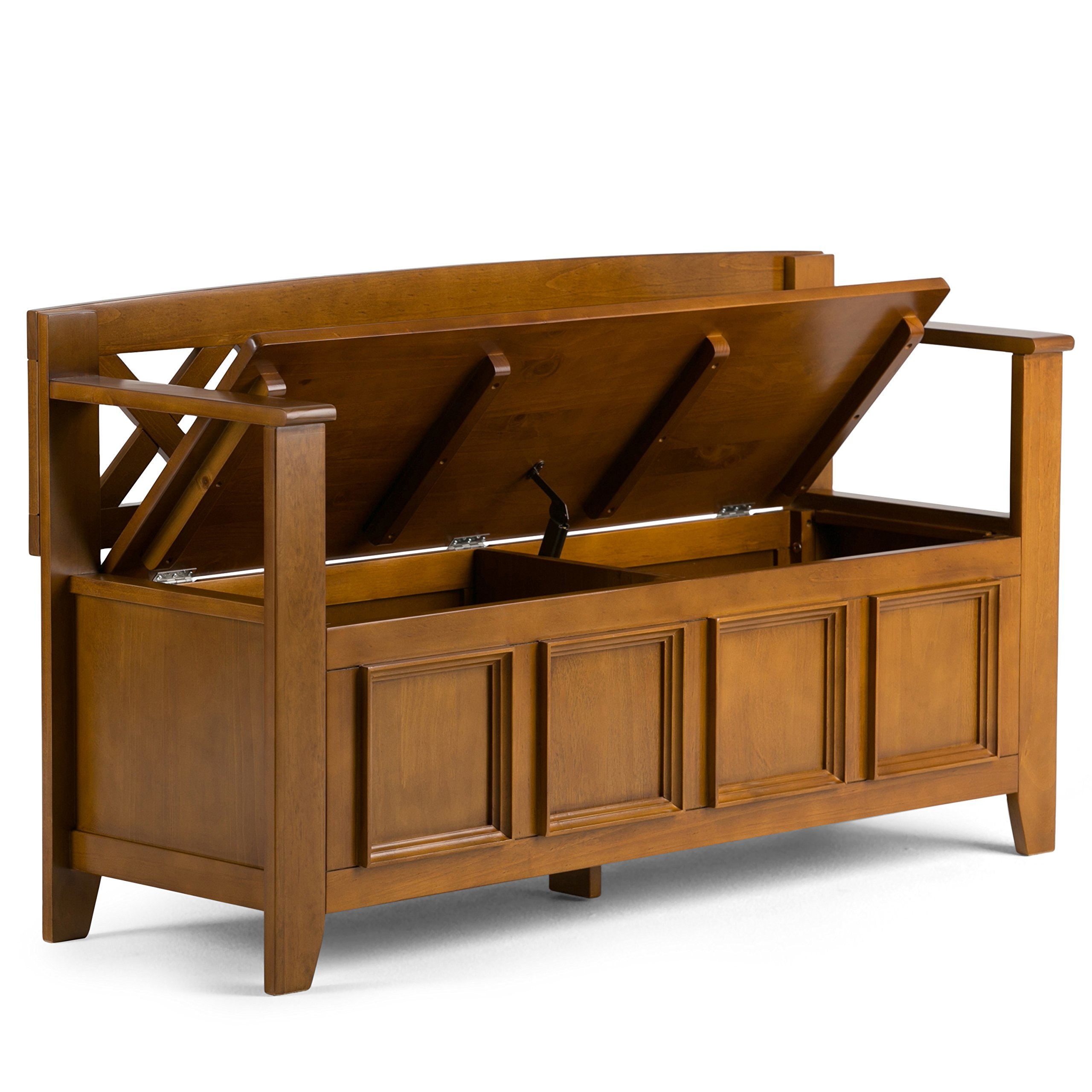 Simpli Home Amherst Solid Wood Entryway Storage Bench, Light Avalon Solid Wood Brown by Simpli Home (Image #3)