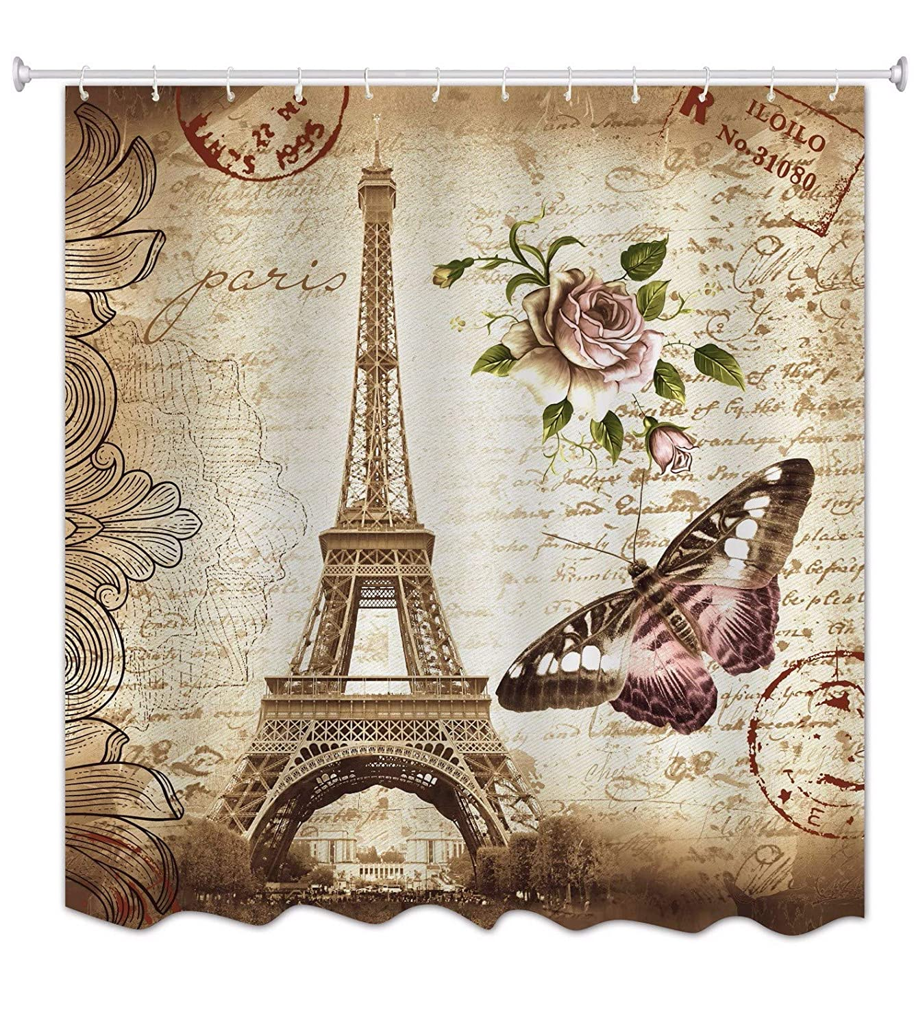 A.Monamour Grey Backgrounds Black Musical Melody Print Music Lover Theme Waterproof Mildew Resistant Long Thicken Fabric Polyester Shower Curtain For Bathroom Décor 150X180 Cm / 60X72 Psbolangyinfu-150x180