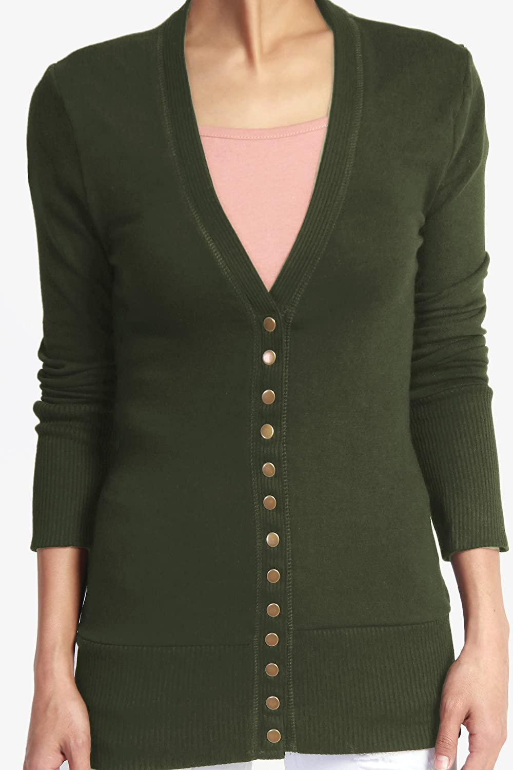 TheMogan Classic Snap Button Front V-Neck Long Sleeve Knit Cardigan   Amazon.ca  Clothing   Accessories a455338b2