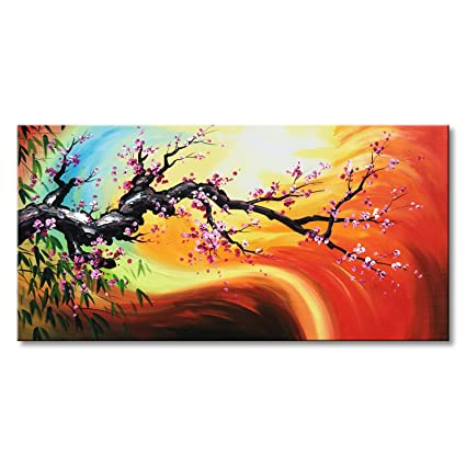 Plum Blossom Oil Painting With Bamboo Leaves Hand Painted Red Abstract Canvas Wall Art Framed Ready To Hang 48x24 Inch