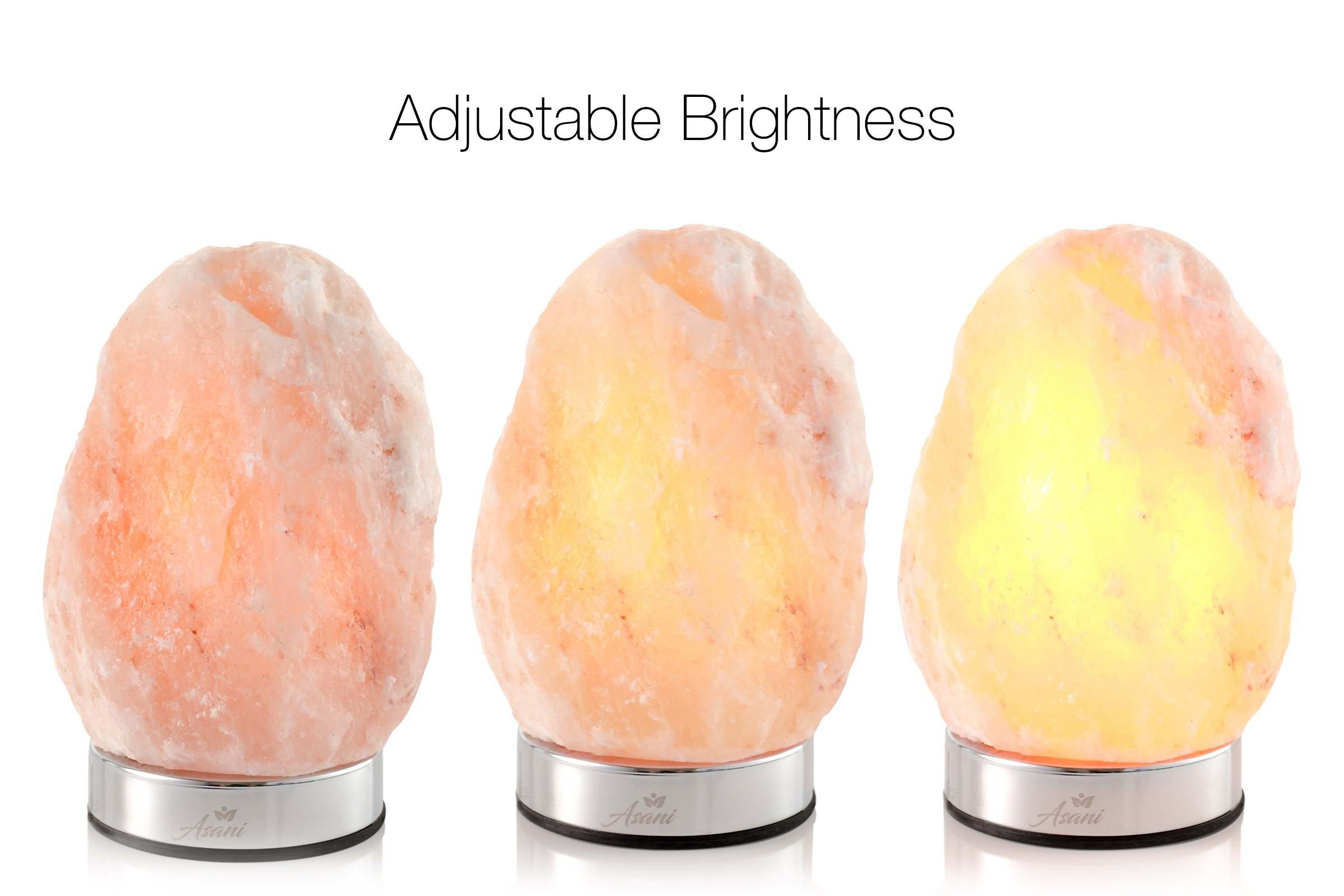Asani Himalayan Light Salt Crystal Lamp (7-11 lbs, 8-10'' Height) WITH FREE GIFT BOX | Metal Dimmer Touch Base | Hand Crafted Ionic HPS Pink Rock Lamps for Natural Air Purifying and Lighting by Asani (Image #2)