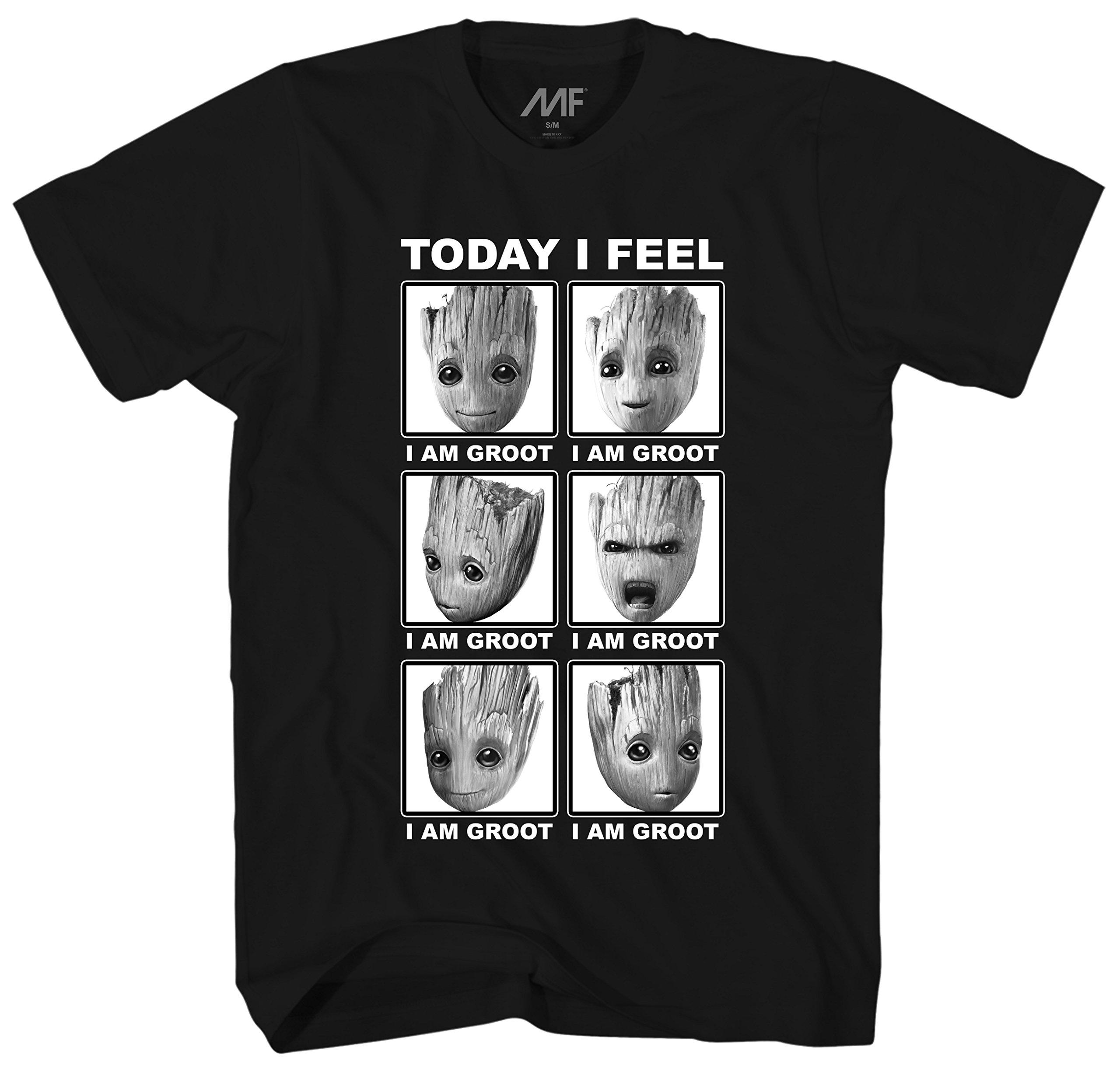 Marvel Guardians of The Galaxy 2 Face of Groot I Feel T-Shirt (Medium, Black)