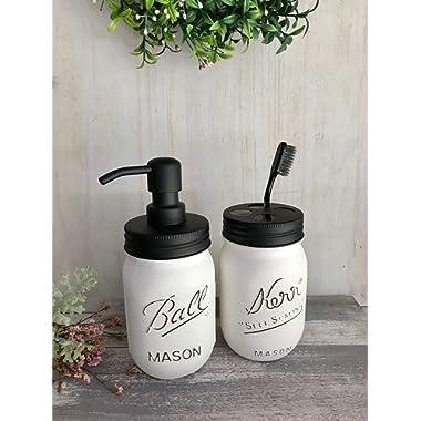 White Mason Jar Decor Rustic Soap Dispenser Bathroom Set Teacher Gift Idea Rustic Distressed Pint JARS Lotion Pump