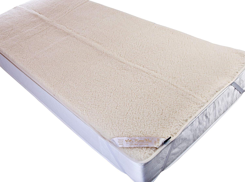 Medical 100/% Merino Wool Underblanket 135 x 190 Mattress Topper ELASTIC STRAPS