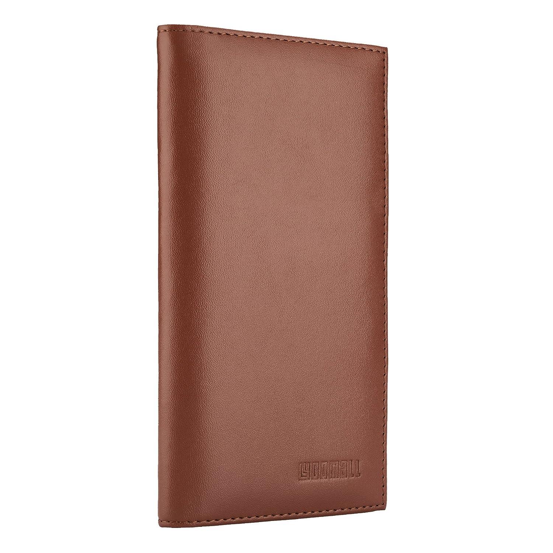 YOOMALL Leather Checkbook & Register Cover Holder Case Slim Wallet For Men & Women