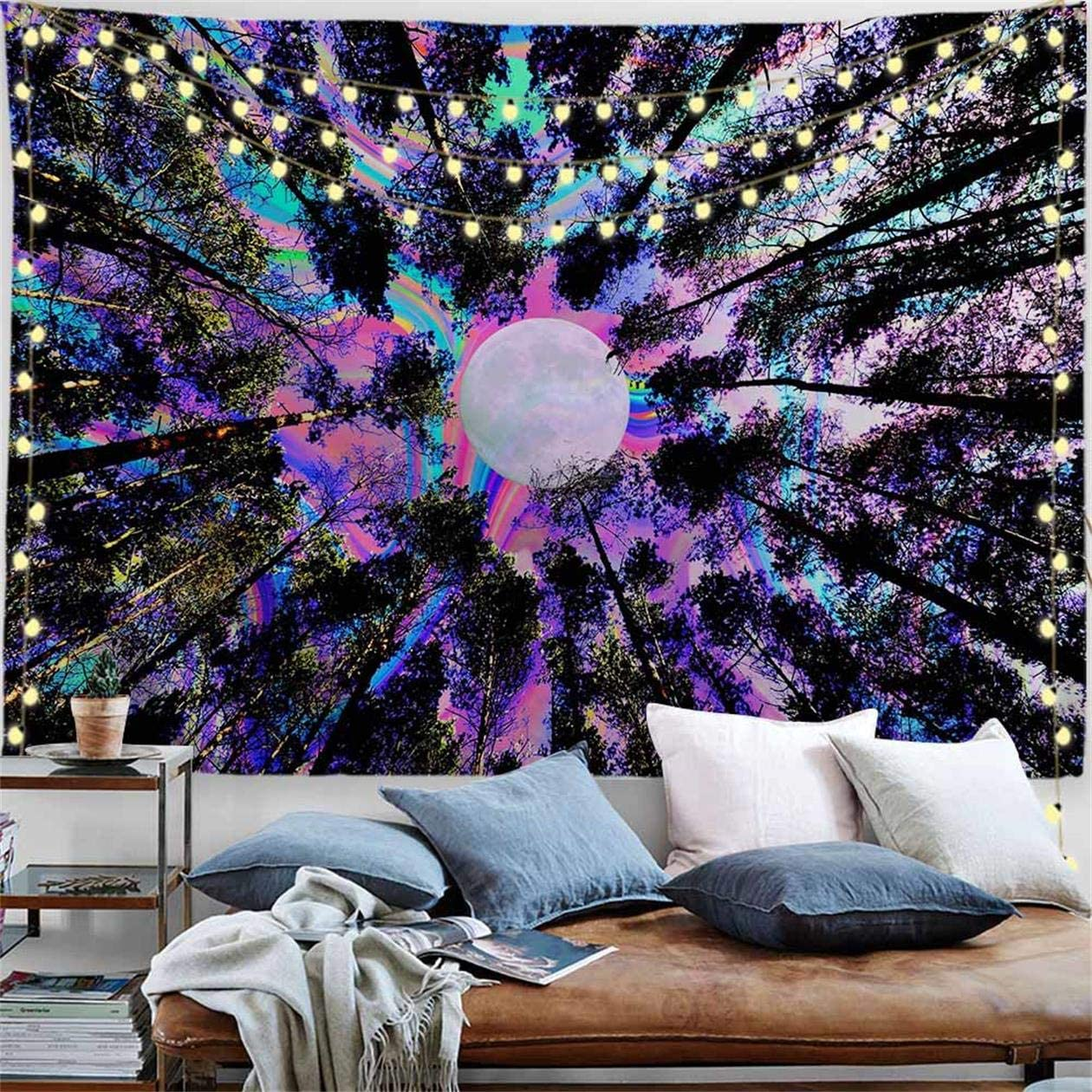 PROCIDA Trippy Tapestry Psychedelic Moon Tapestry Forest Colorful Wall Tapestry for Dorm Bedroom Living Room College Nails Included 90 W x 71 H, Trippy Tree
